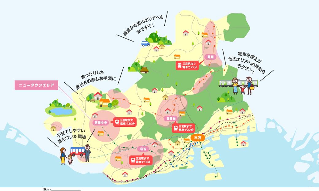 ニュータウンエリアのマップイメージ