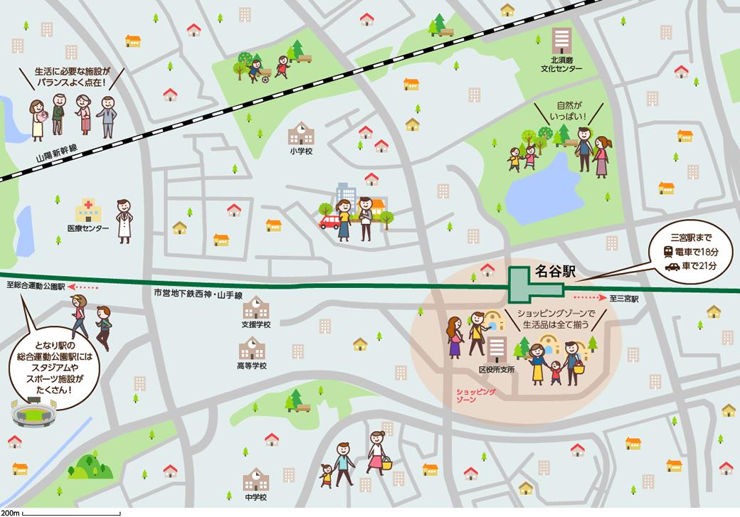 名谷(みょうだに)周辺のマップイメージ