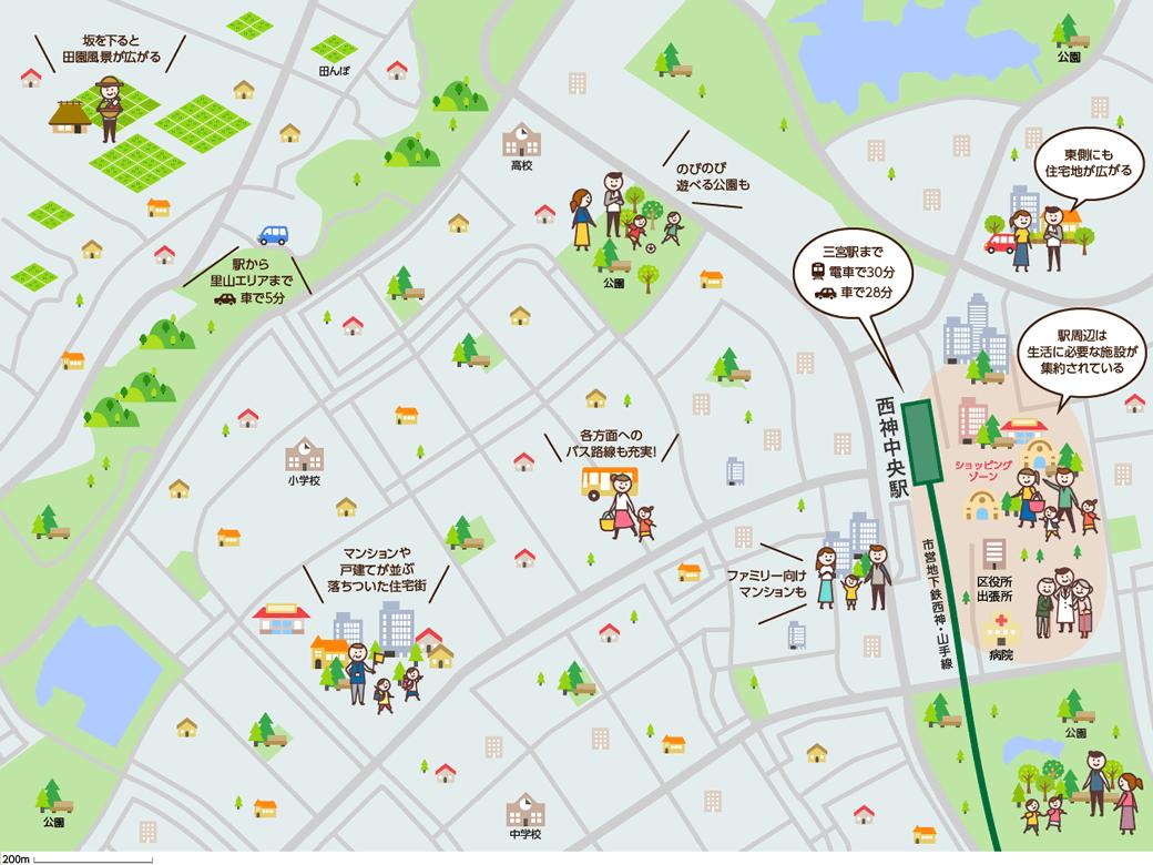 西神中央(せいしんちゅうおう)周辺のマップイメージ