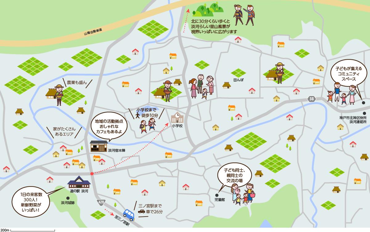 淡河(おうご)周辺のマップイメージ