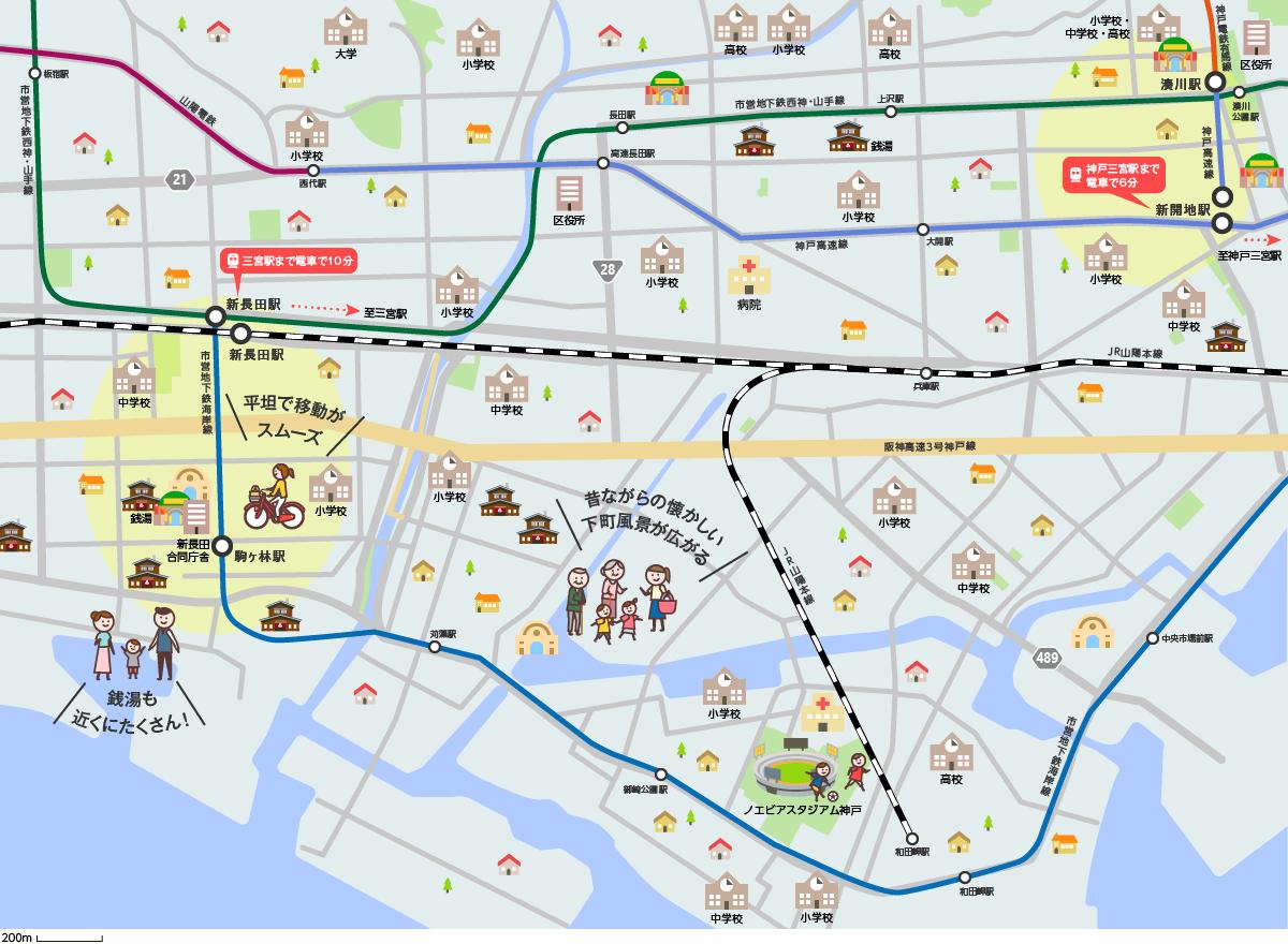 下町情緒エリアのマップイメージ