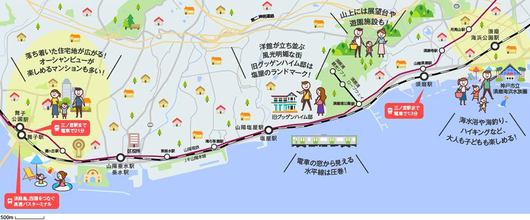 海辺のエリアのマップイメージ