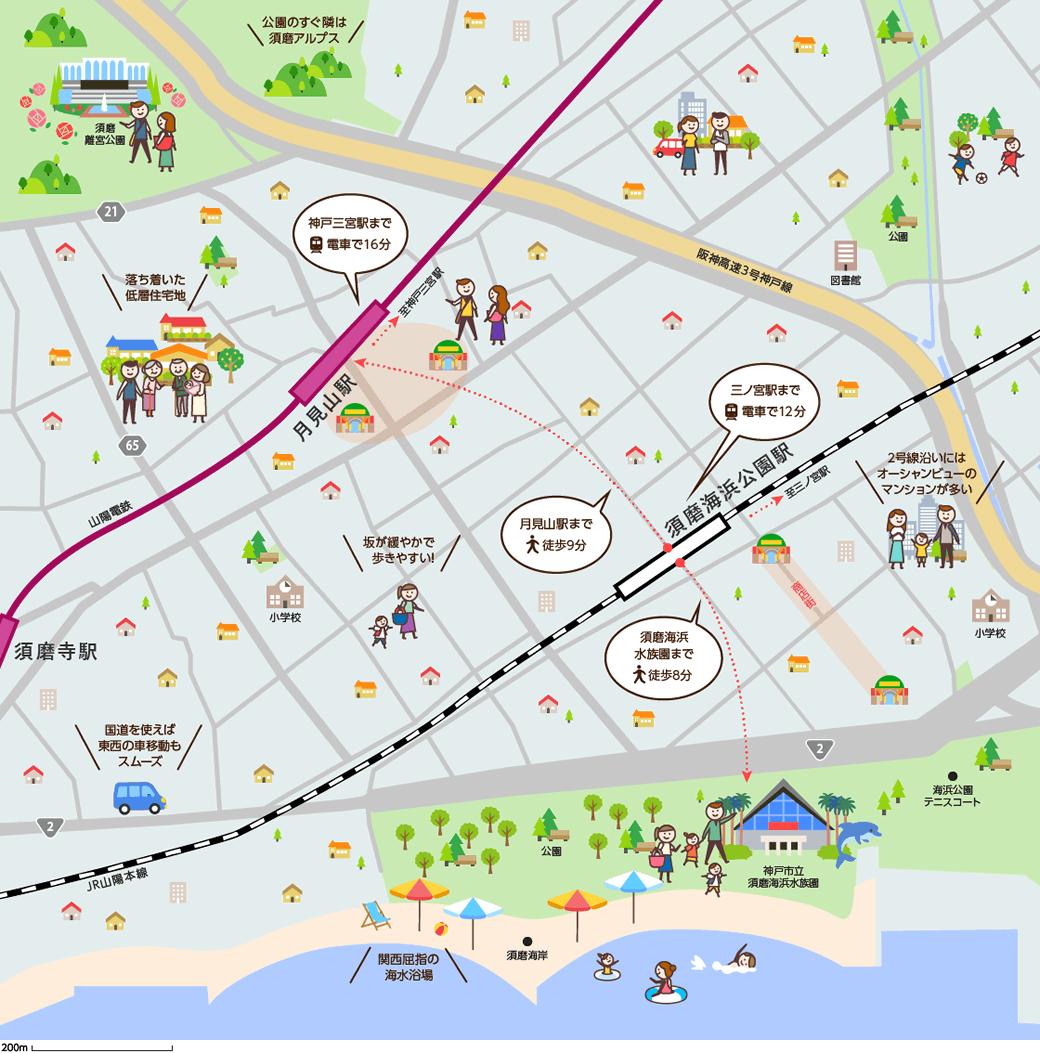 須磨海浜公園(すまかいひんこうえん)周辺のマップイメージ